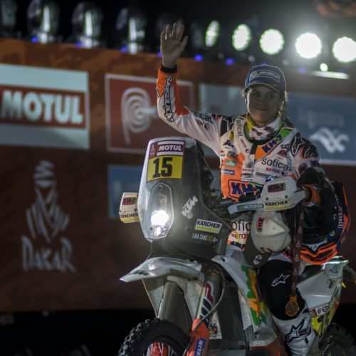 Laia Sanz (ESP) of KTM Factory Team is seen at the podium of Rally Dakar 2018 in Cordoba, Argentina on January 20, 2018 // Marcelo Maragni/Red Bull Content Pool // P-20180121-00196 // Usage for editorial use only // Please go to www.redbullcontentpool.com for further information. //